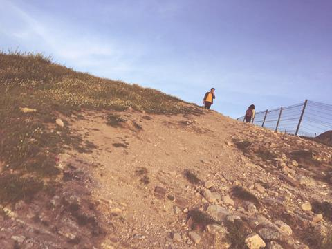 Image of well used walking path going up a grass hill.